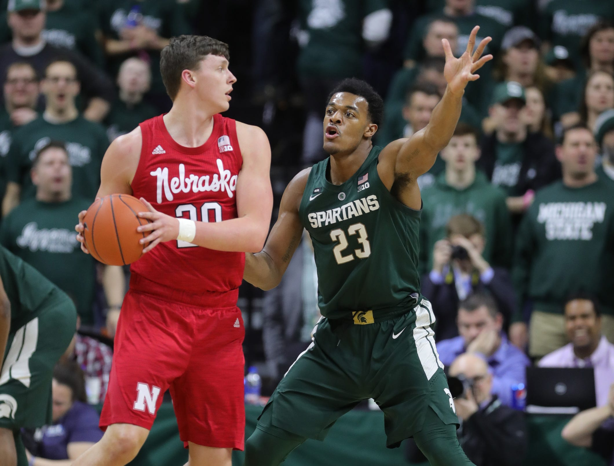 Michigan State forward Xavier Tillman defends against Nebraska forward Tanner Borchardt during first half action Tuesday, March 5, 2019 at the Breslin Center in East Lansing, Mich.