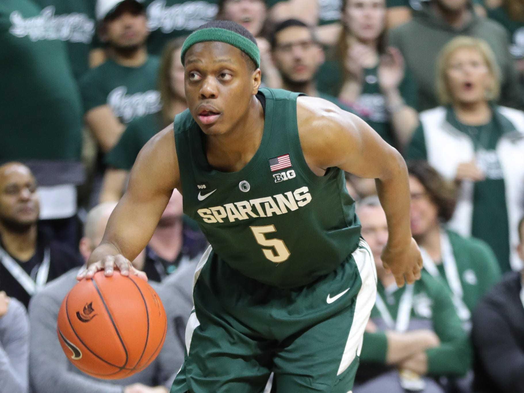 Michigan State guard Cassius Winston drives against Nebraska during first half action Tuesday, March 5, 2019 at the Breslin Center in East Lansing, Mich.
