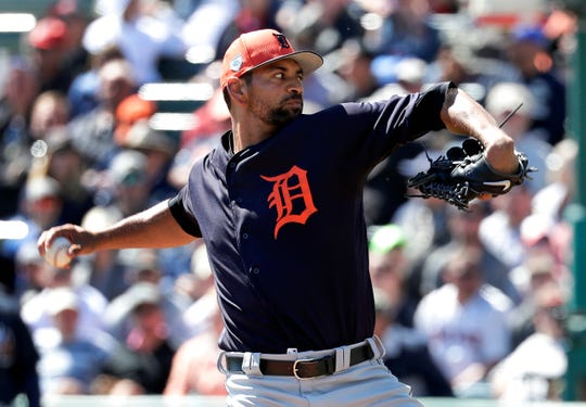 Tigers pitcher Tyson Ross pitches against the Atlanta Braves in the first inning of a spring baseball exhibition game, Wednesday, March 6, 2019, in Kissimmee, Fla.