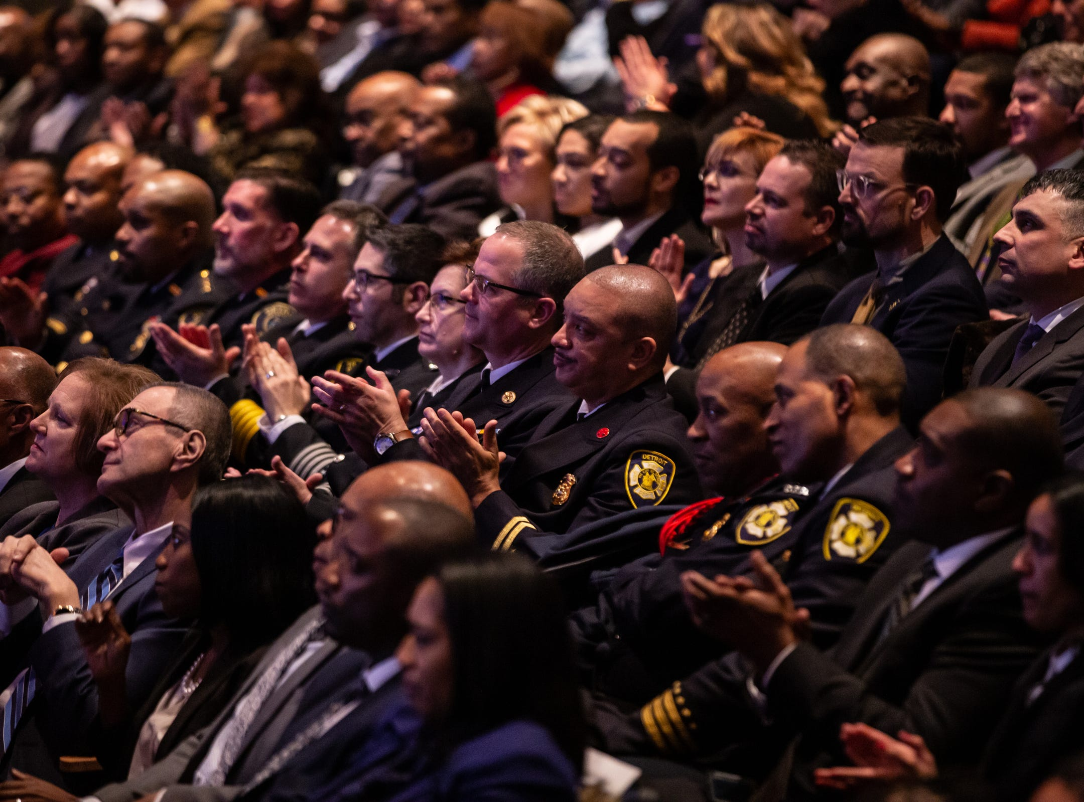 The crowd applauds Detroit Mayor Mike Duggan as he speaks during the 2019 State of the City Address on Tuesday, March 5, 2019 at East English Village Preparatory Academy in Detroit.