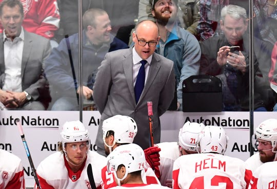 Detroit Red Wings head coach Jeff Blashill reacts during the second period against the Colorado Avalanche at the Pepsi Center on Tuesday, March 5, 2019.