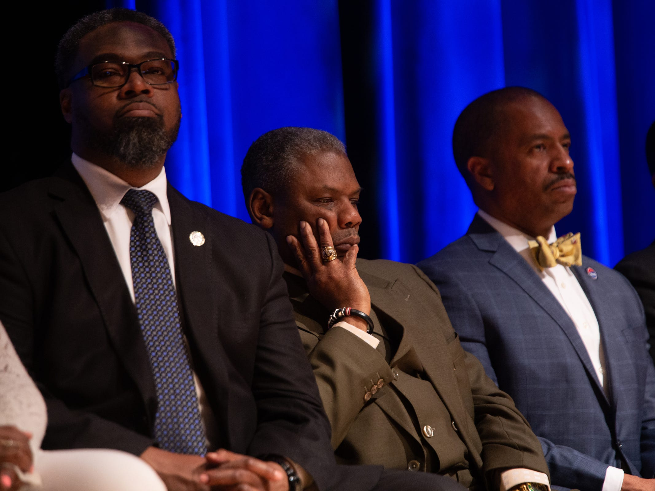 Detroit City Councilman listen as Mayor Mike Duggan speaks during the 2019 State of the City Address on Tuesday, March 5, 2019 at East English Village Preparatory Academy in Detroit.