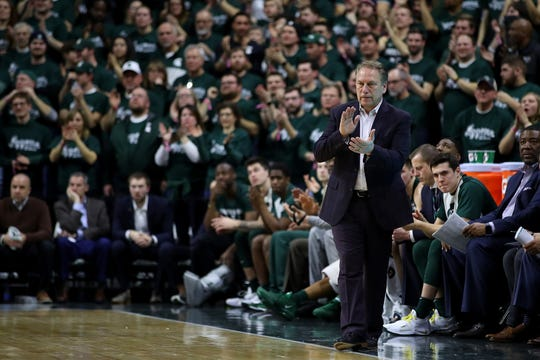 Head coach Tom Izzo of the Michigan State Spartans look on while playing the Nebraska Cornhuskers at Breslin Center on March 05, 2019 in East Lansing, Michigan.
