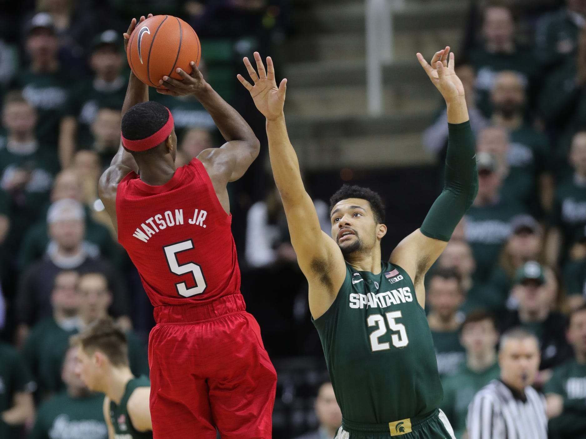 Michigan State forward Kenny Goins defends against Nebraska guard Glynn Watson during first half action Tuesday, March 5, 2019 at the Breslin Center in East Lansing, Mich.