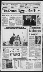The Detroit News and Free Press, March 20, 1994. The newspapers printed a combined Saturday and Sunday paper at the time.