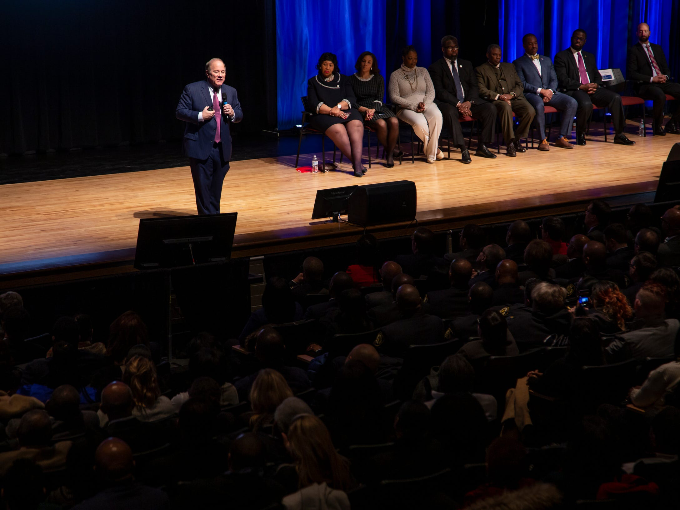 Detroit Mayor Mike Duggan speaks during the 2019 State of the City Address on Tuesday, March 5, 2019 at East English Village Preparatory Academy in Detroit.
