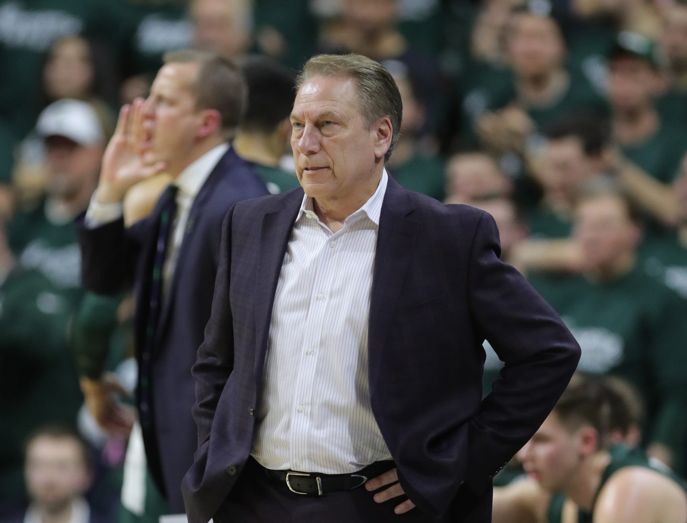 Michigan State head coach Tom Izzo on the bench during first half action against Nebraska Tuesday, March 5, 2019 at the Breslin Center in East Lansing, Mich.