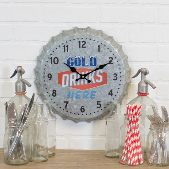 A clock with a beverage theme becomes a fun accent for a breakfast nook or bar area.