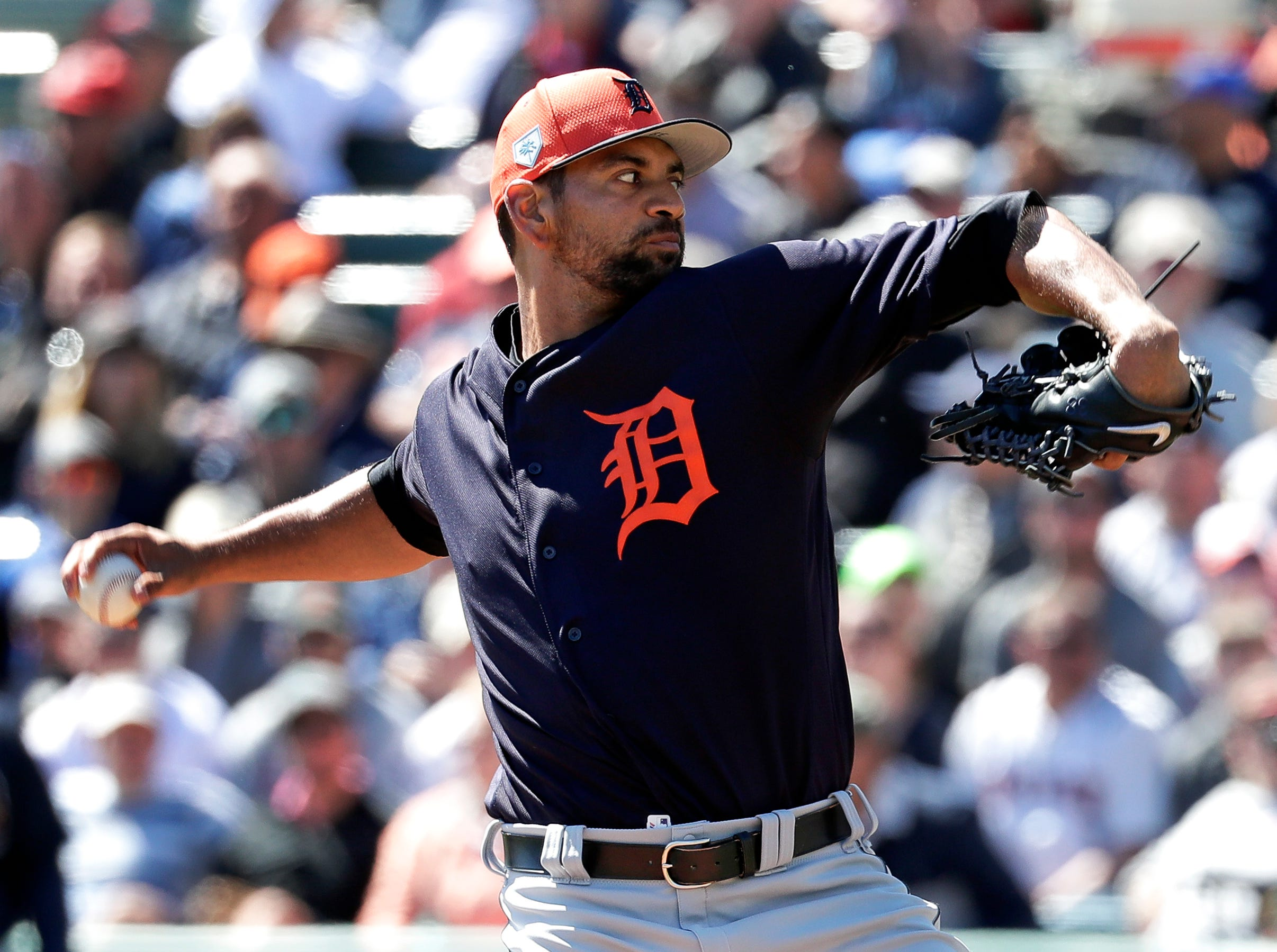 Detroit Tigers' Tyson Ross pitches against the Atlanta Braves in the first inning of a spring baseball exhibition game, Wednesday, March 6, 2019, in Kissimmee, Fla.