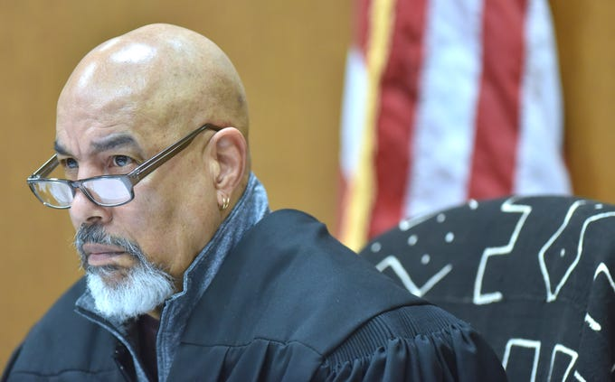 Wayne County Circuit Court Judge Bruce Marrow listens to cases, Wednesday morning, March 6, 2019, before sentencing Decharlos Brooks to 36 to 60 years in a state prison for the December 2018 shooting murder of Detroit Police Officer Glenn Doss Jr.