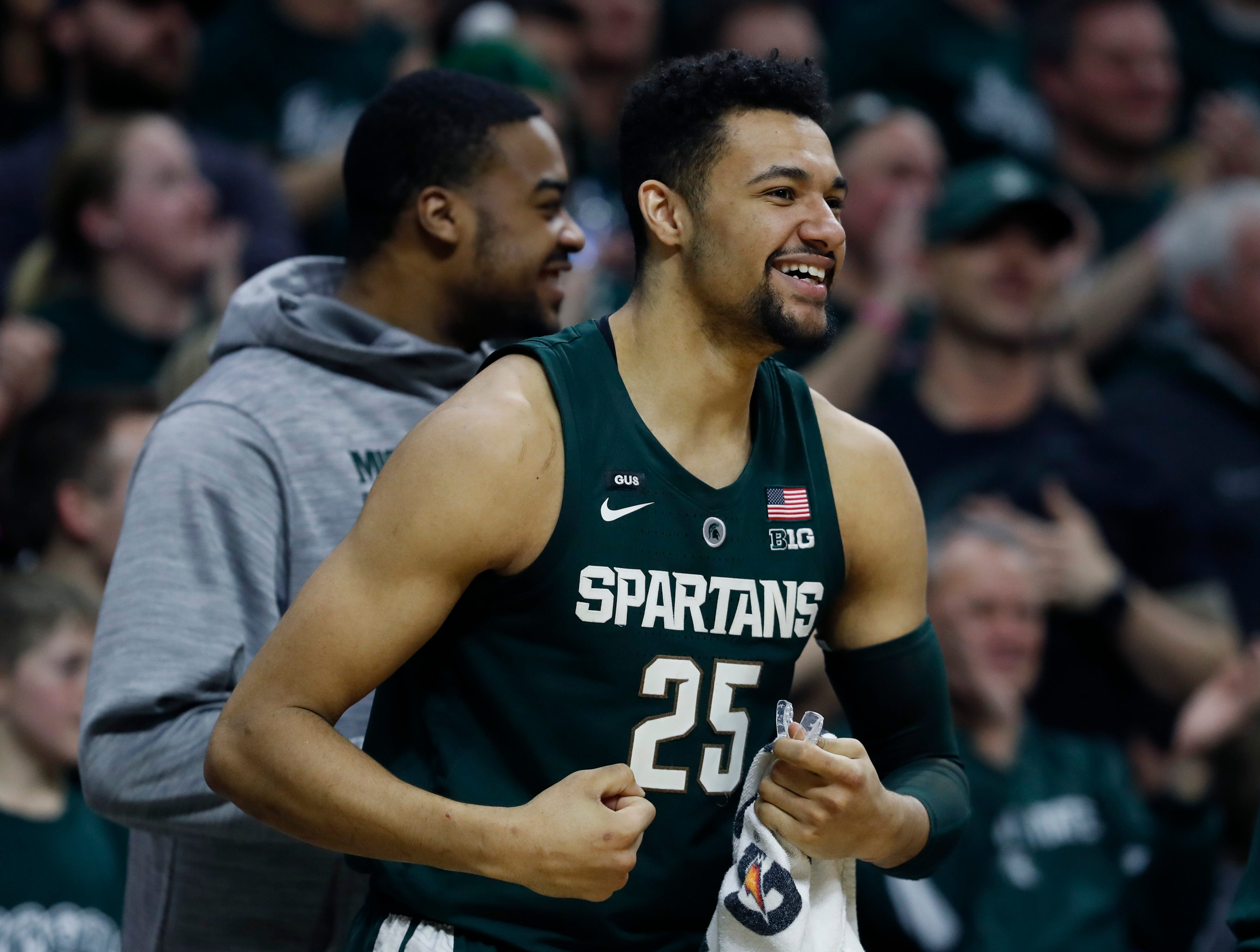 Michigan State forward Kenny Goins reacts during the closing seconds of the second half of an NCAA college basketball game against Nebraska, Tuesday, March 5, 2019, in East Lansing, Mich.
