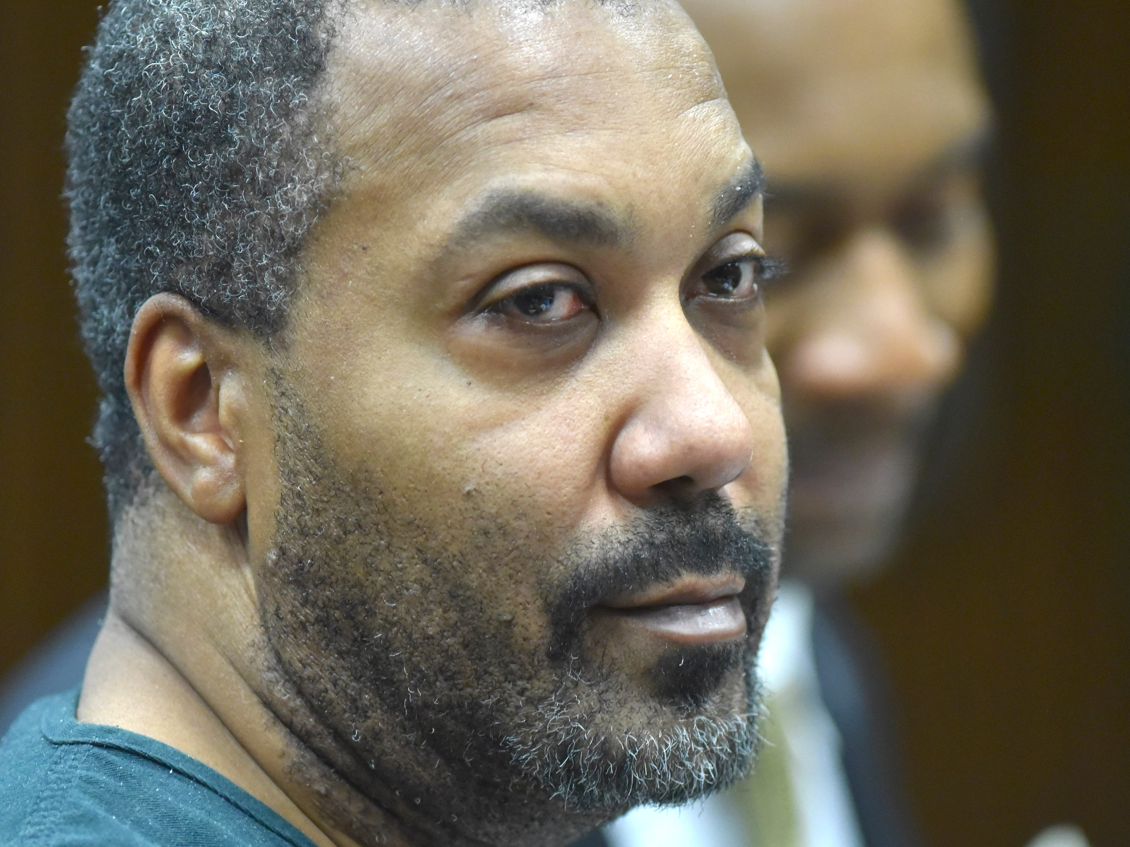 Decharlos Brooks stands before he is sentenced to 36 to 60 years in a state prison (with 406 days served) for the December 2018 shooting murder of Detroit Police Officer Glenn Doss Jr.