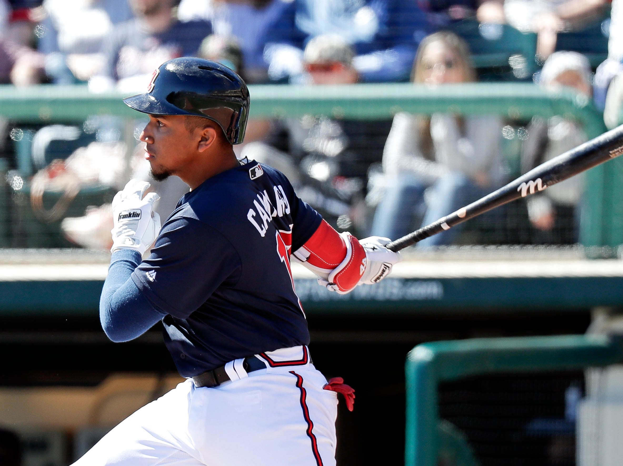 Atlanta Braves' Johan Camargo hits a single against the Detroit Tigers in the third inning of a spring baseball exhibition game, Wednesday, March 6, 2019, in Kissimmee, Fla.