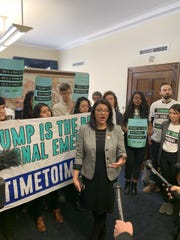 U.S. Rep. Rashida Tlaib, D-Detroit, and impeachment activists speak to the press in her office on Capitol Hill.