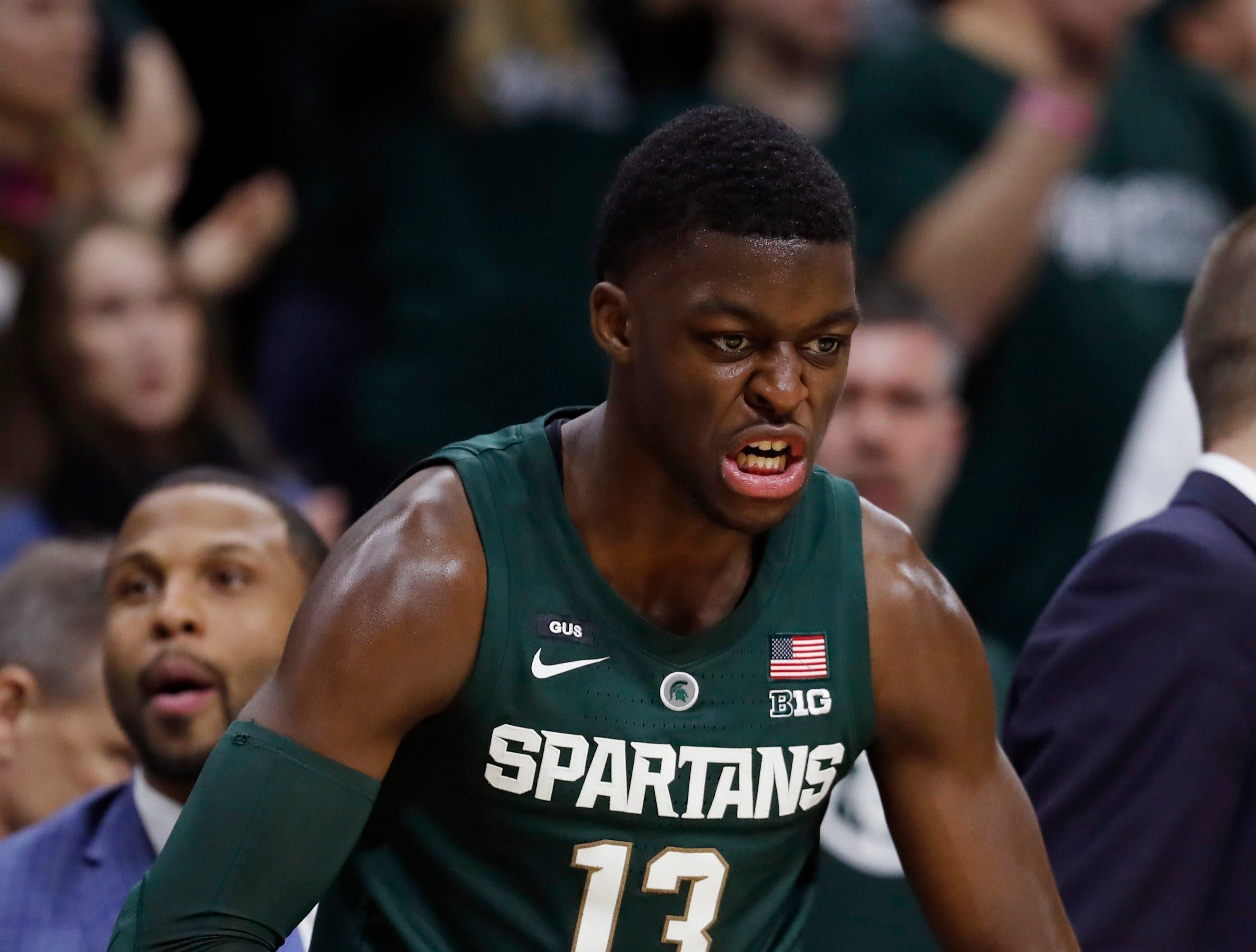 Michigan State forward Gabe Brown reacts during the closing seconds of the second half of an NCAA college basketball game against Nebraska, Tuesday, March 5, 2019, in East Lansing, Mich.
