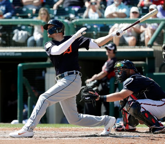 The Detroit Tigers' JaCoby Jones hits a solo home run against the Atlanta Braves in the fourth inning Wednesday.