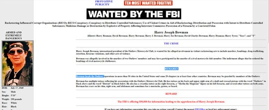 """A 1998 FBI Most Wanted poster featuring Harry """"Taco"""" Bowman, president of the Outlaws motorcycle gang"""