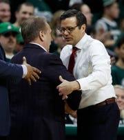MSU coach Tim Izzo greets Nebraska coach Tim Miles after their game March 5.