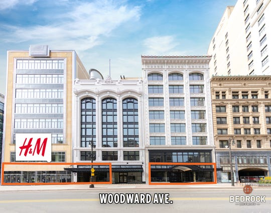 Finished exterior facade of 1515 and 1529 Woodward before retail tenants move in on September 27th, 2019