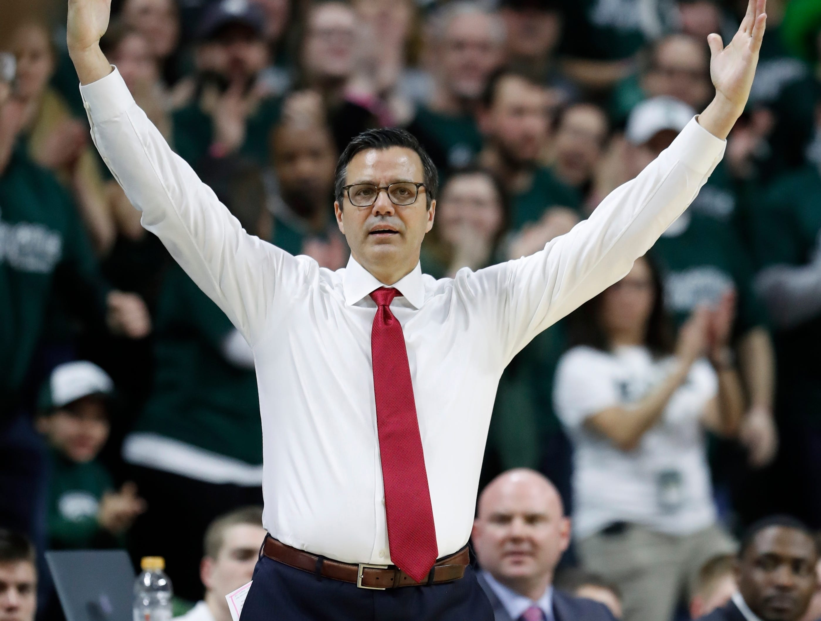 Nebraska head coach Tim Miles on the sidelines during the first half of an NCAA college basketball game against Michigan State, Tuesday, March 5, 2019, in East Lansing, Mich. .