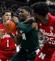 Michigan State freshman forward Aaron Henry (11) did a little bit of everything Tuesday night against Nebraska, scoring a career-high 15 points to go with five rebounds and three assists in 23 minutes.