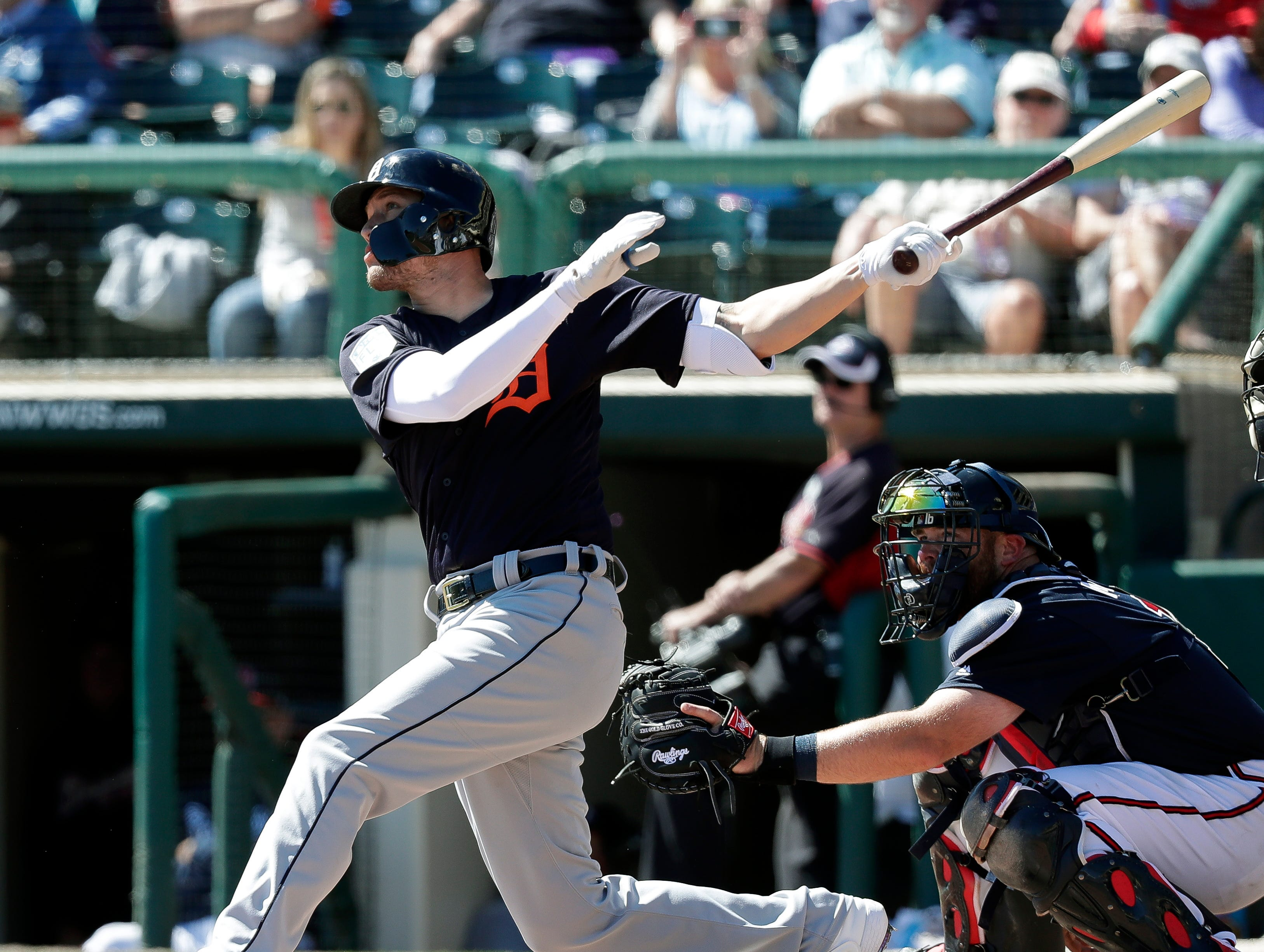 Detroit Tigers' JaCoby Jones hits a solo home run against the Atlanta Braves in the fourth inning of a spring baseball exhibition game, Wednesday, March 6, 2019, in Kissimmee, Fla.