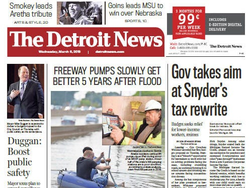 Front page of The Detroit News on Wednesday, March 6, 2019.