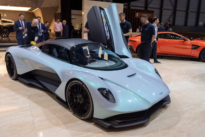 The new Aston Martin AM-RB003 is presented during the second press day at the 89th Geneva International Motor Show in Geneva, Switzerland, Wednesday, March 6, 2019. The show, which opens March 7, includes more than 180 exhibitors and more than 100 world and European premieres.