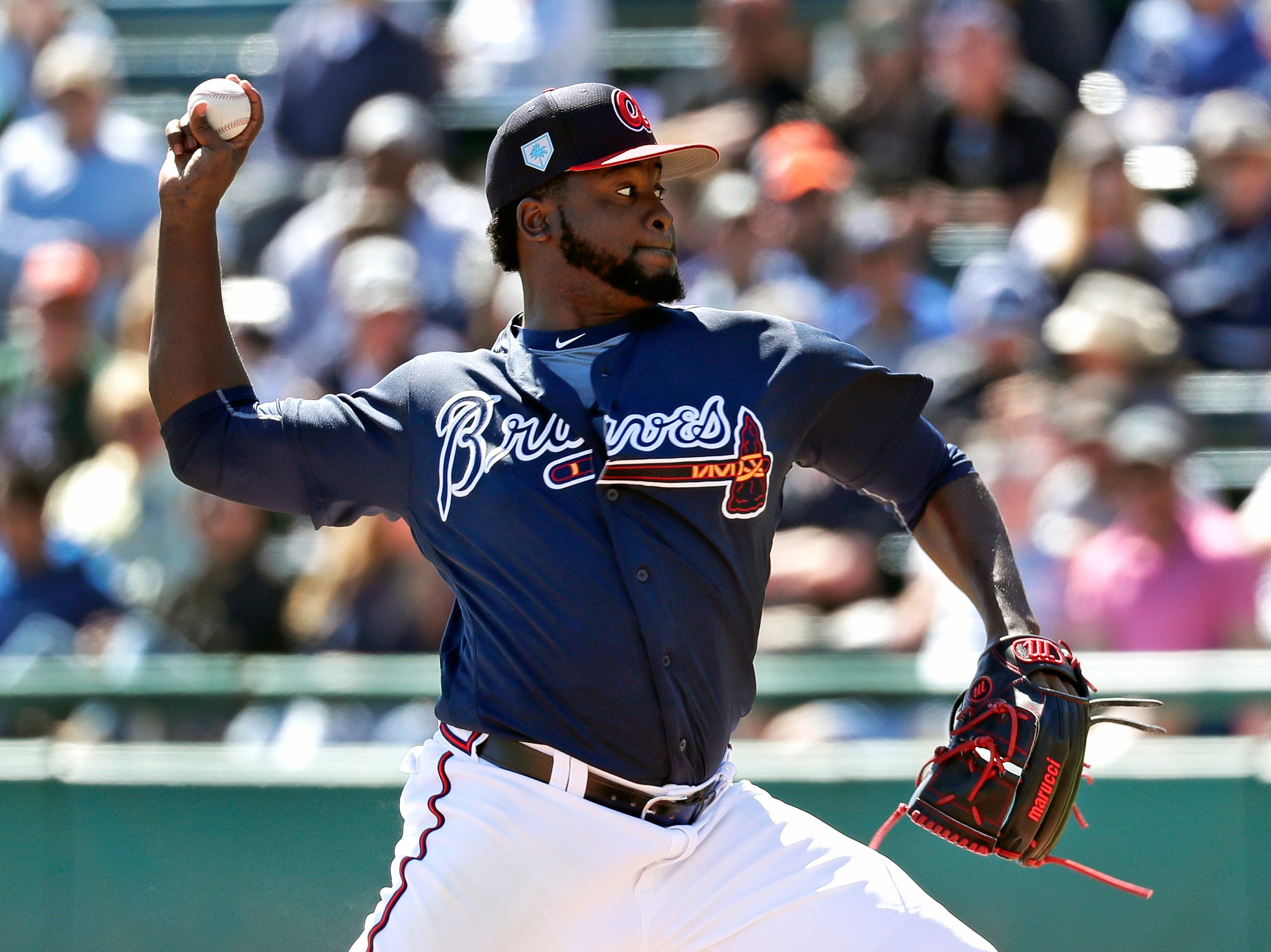 Atlanta Braves relief pitcher Arodys Vizcaino throws against the Detroit Tigers in the fourth inning of a spring baseball exhibition game, Wednesday, March 6, 2019, in Kissimmee, Fla.