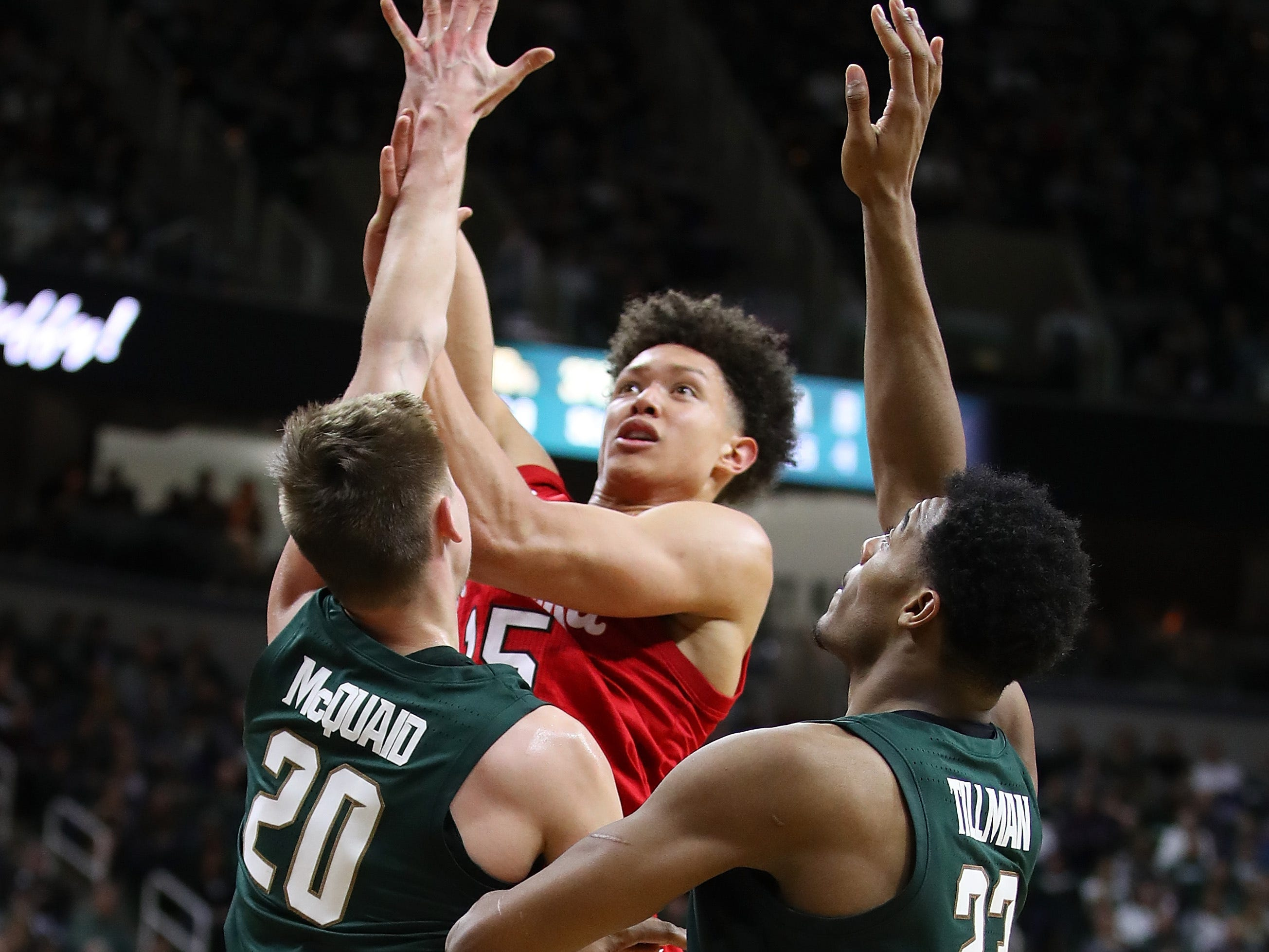 EAST LANSING, MICHIGAN - MARCH 05:  Isaiah Roby #15 of the Nebraska Cornhuskers takes a second half shot over Matt McQuaid #20 of the Michigan State Spartans at Breslin Center on March 05, 2019 in East Lansing, Michigan. Michigan State won the game 91-76. (Photo by Gregory Shamus/Getty Images)