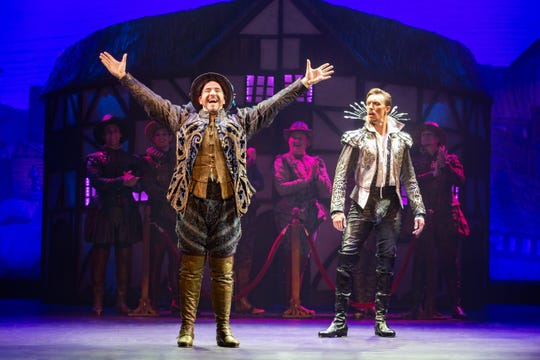 "Matthew Janisse and Matthew Baker perform in the touring cast of ""Something Rotten"" as rivals Nick Bottom and Shakespeare, respectively."