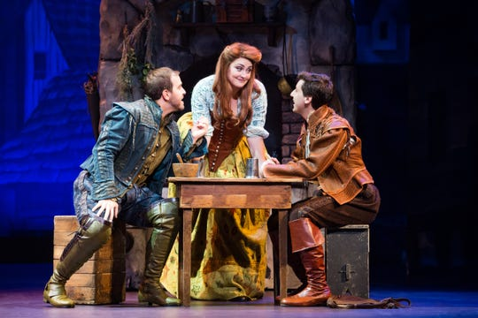 Matthew Janisse (Nick Bottom) Emily Kristen Morris (Bea) and Richard Spitaletta (Nigel Bottom) star in the tour of 'Something Rotten.'