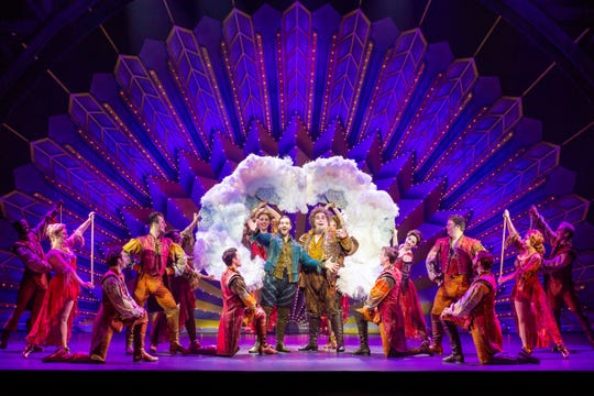 "Matthew Janisse, center left, and Greg Kalafatas, center right, lead the cast of ""Something Rotten"" in the flashy production number titled ""A Musical."""