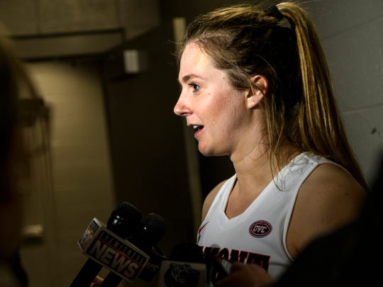 Belmont's Maura Muensterman (31) answers questions from local media after her team's 74-65 victory over the Southeast Missouri Redhawks during the first round of the Ohio Valley Conference Tournament at Ford Center in Evansville, Ind., Wednesday, March 6, 2019. Muensterman is an Evansville native who played basketball for Mater Dei High School.