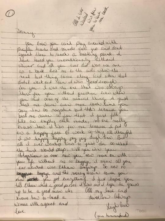 Suicide letter written by Leigh Ann Sluder prior to her being found dead in 2009.