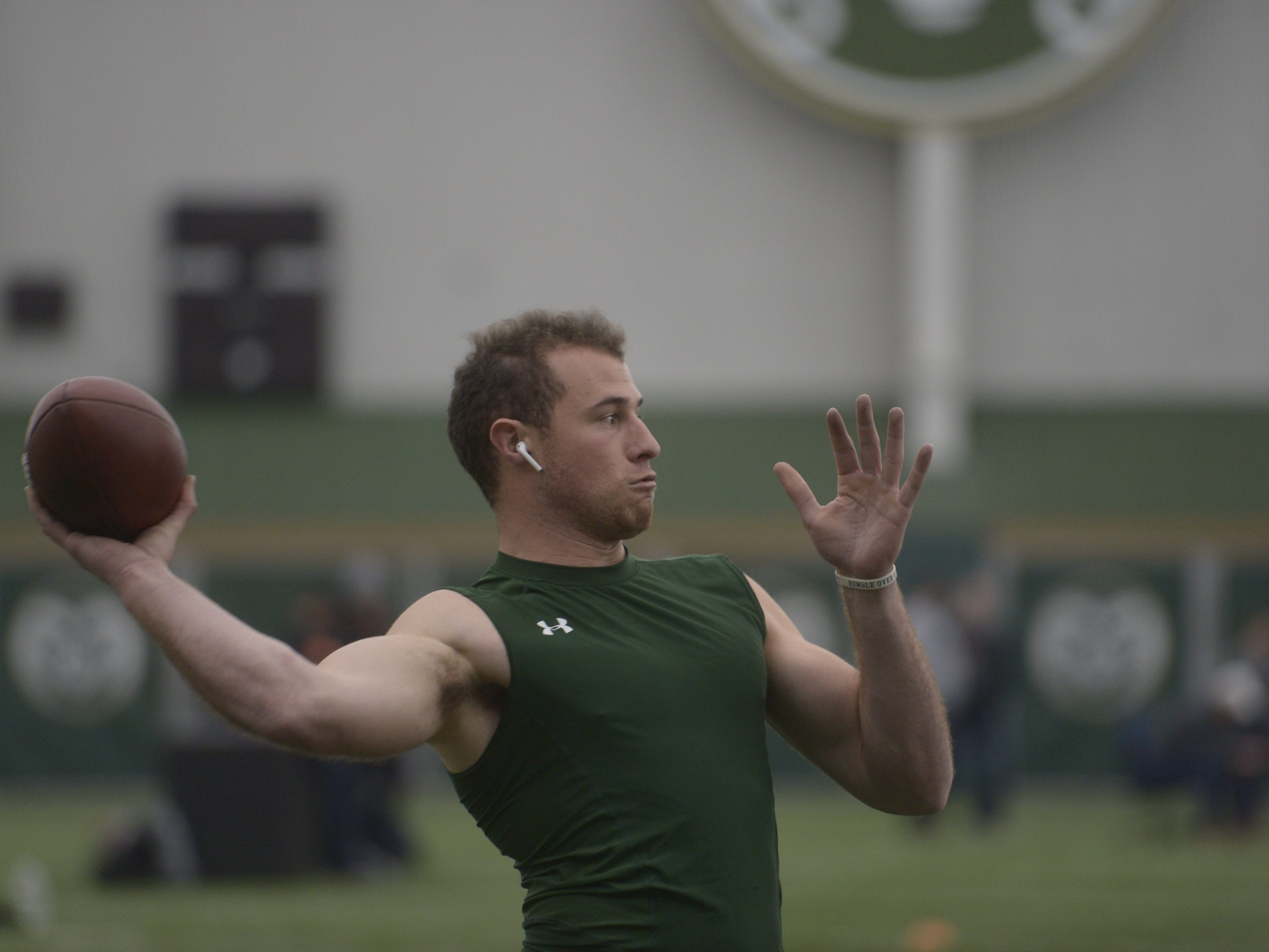 Former Colorado State quarterback throws at CSU's pro day at the Indoor Practice Facility on Wednesday, March 6, 2019.