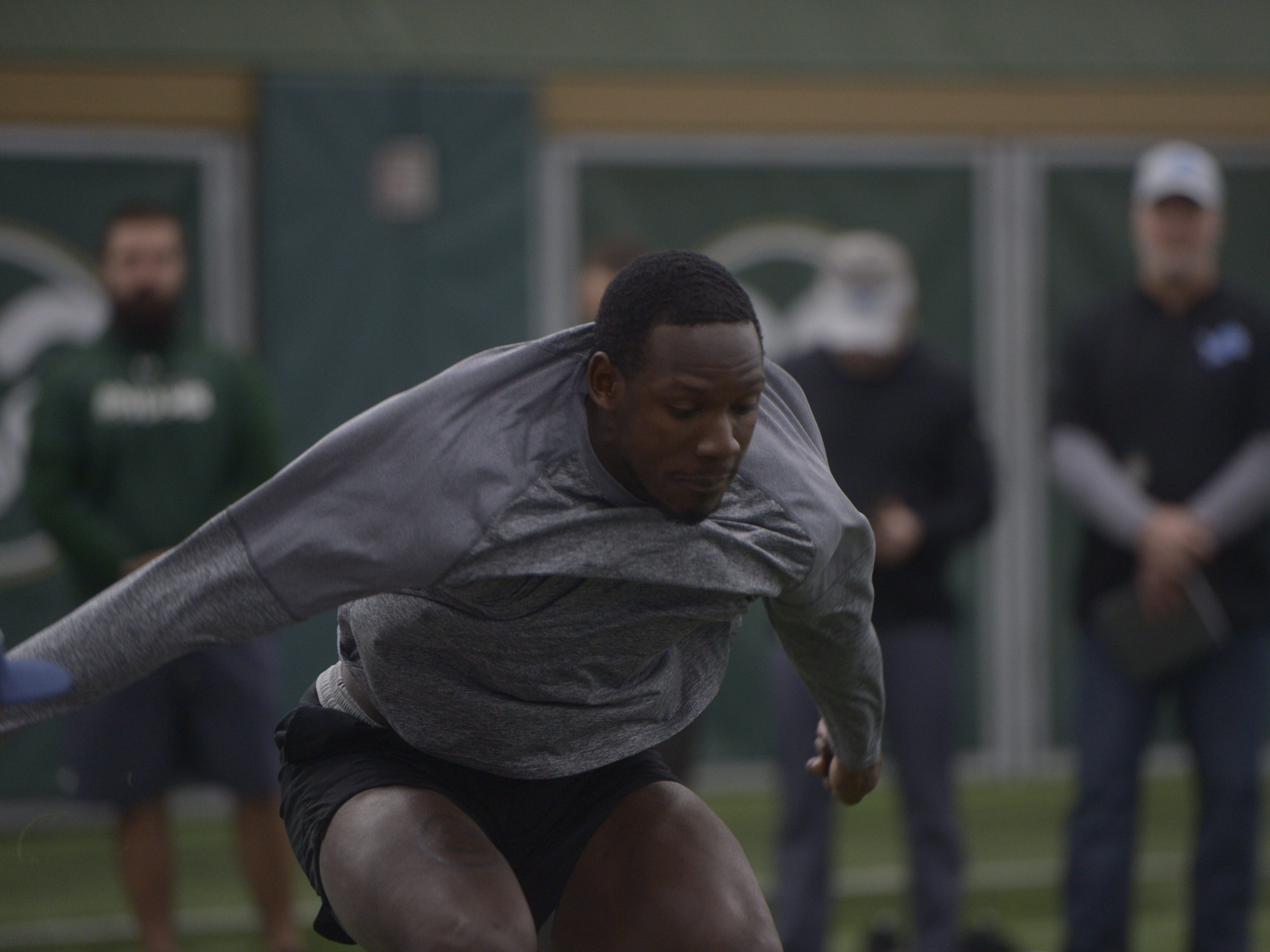 Former Colorado State wider receiver Preston Williams participates in the broad jump at CSU's pro day in the Indoor Practice Facility on Wednesday, March 6, 2019.