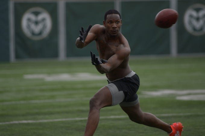 Former Colorado State wide receiver Preston Williams catches a pass at the Indoor Practice Facility during CSU's pro day on Wednesday, March 6, 2019.