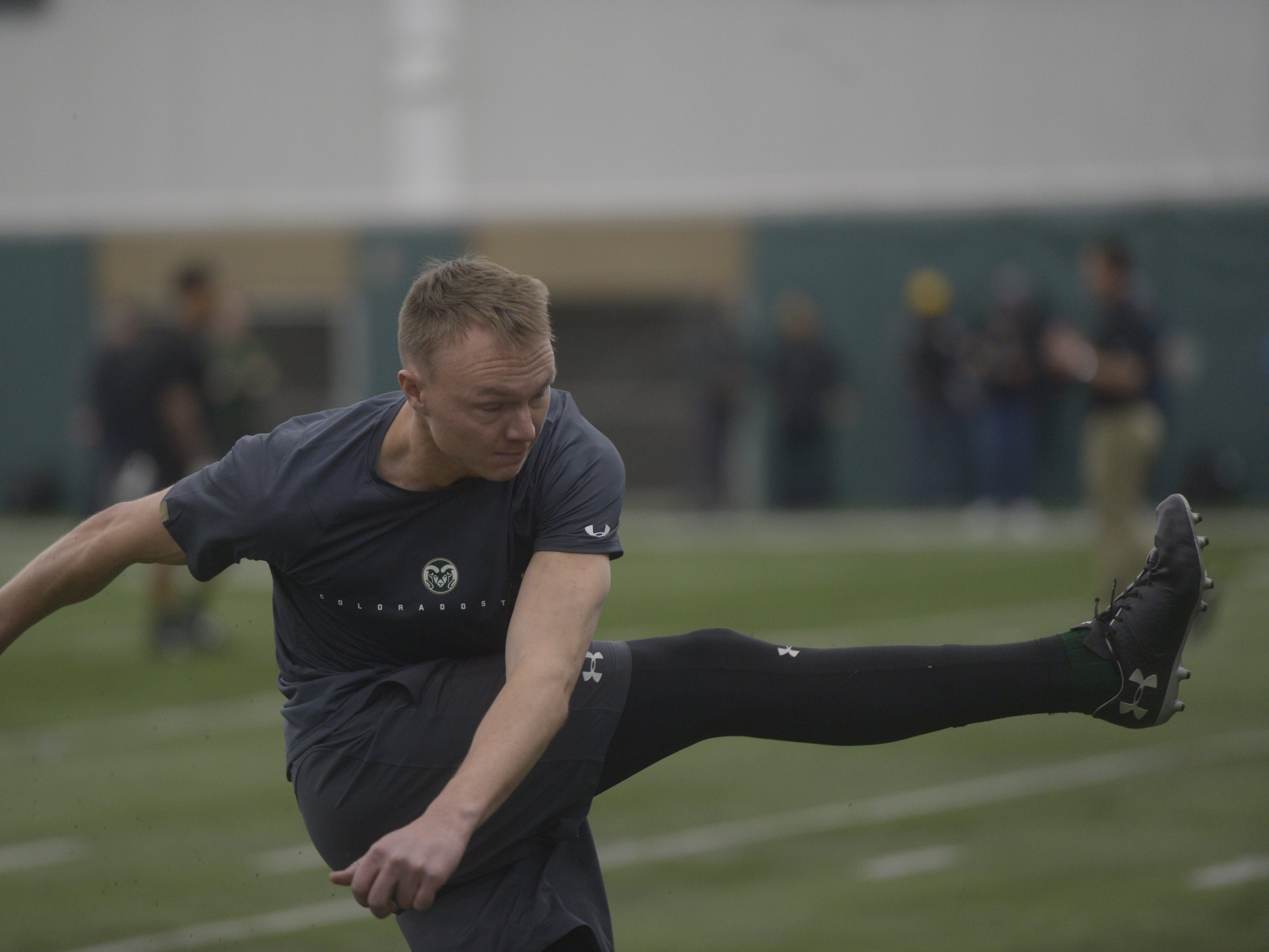 Former Colorado State kicker Wyatt Bryan kicks at CSU's pro day in the Indoor Practice Facility on Wednesday, March 6, 2019.