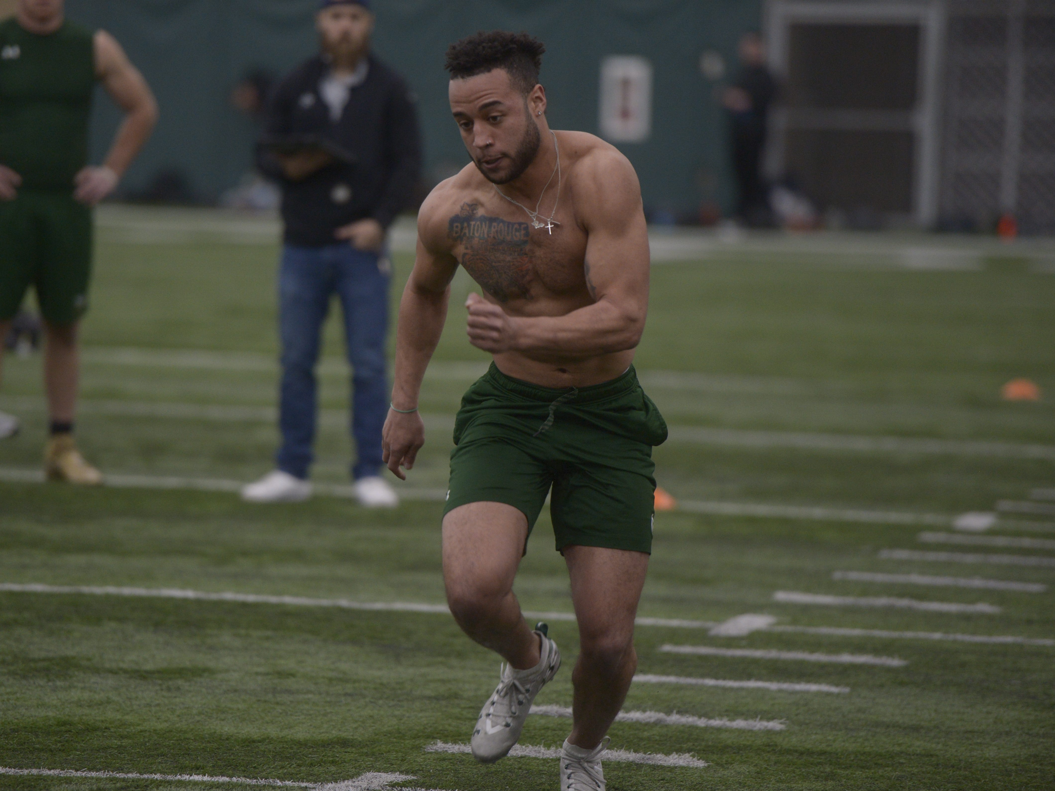Former Colorado State cornerback V.J. Banks participates in the cone drill at CSU's pro day in the Indoor Practice Facility on Wednesday, March 6, 2019.