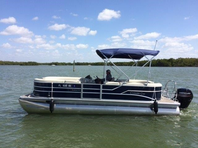The pontoon the missing boaters rented from Snook Bight Marina Tuesday.