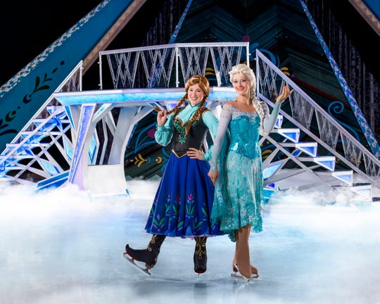 "Anna and Elsa in ""Disney on Ice presents Frozen."" Current cast not pictured."