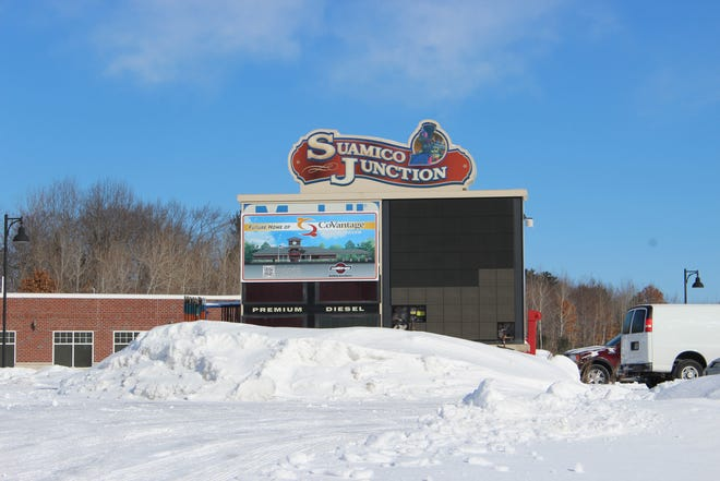 A CoVantage Credit Union sign has replaced a portion of the old Suamico Junction sign. CoVantage expects to open its first Brown County branch at the site this fall.