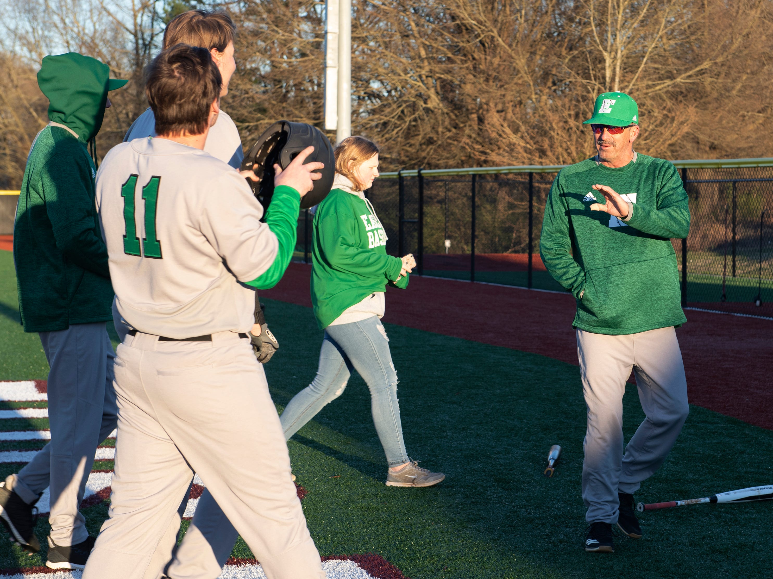 Easley High School head coach Gill Payne with his team before the start of the game at Westside High School Tuesday, Mar. 5, 2019.