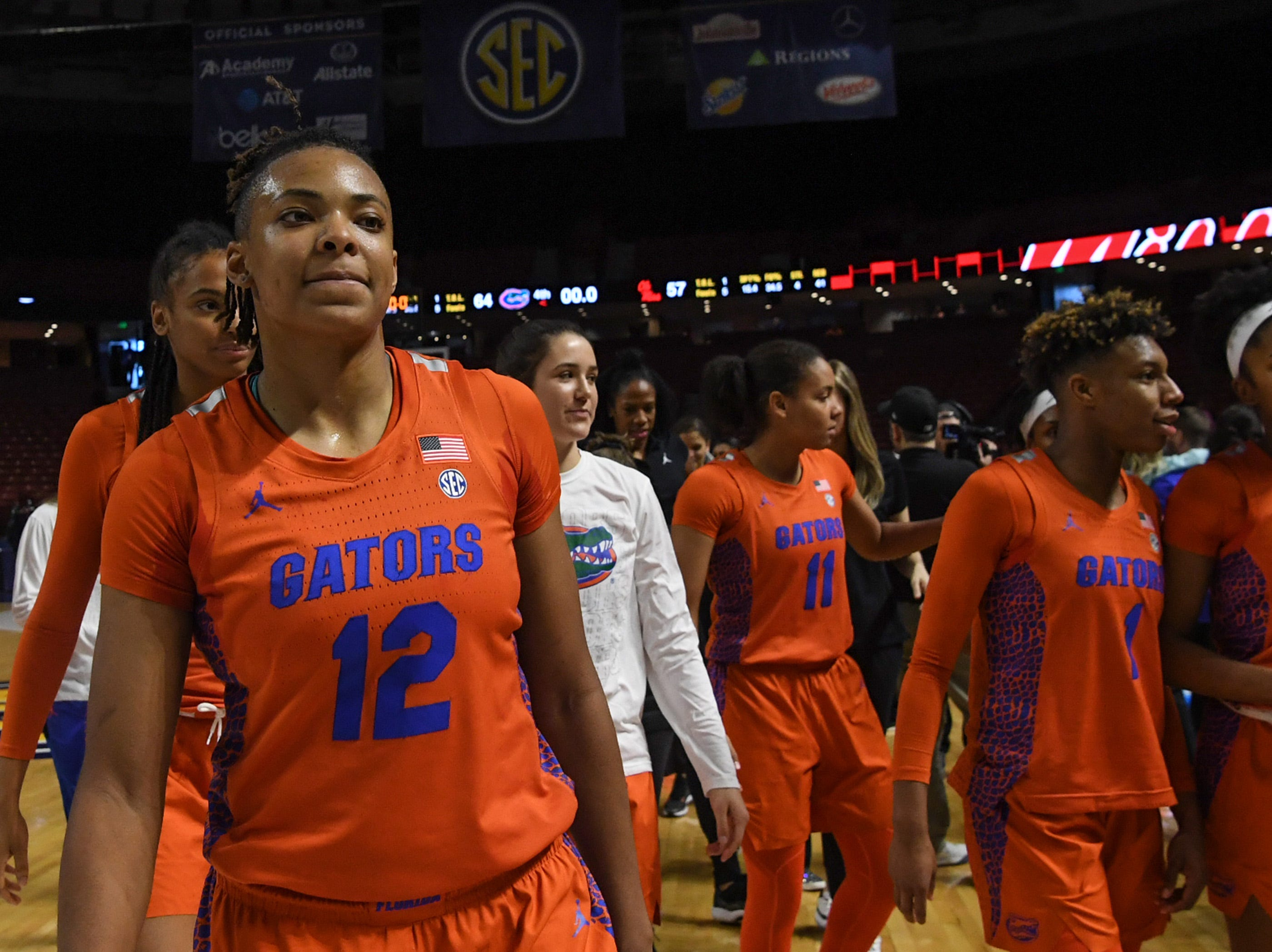 Florida walks off the court after their win over Ole Miss during the Southeastern Conference Women's Tournament game at Bon Secour Wellness Arena in Greenville Wednesday, March 6, 2019.