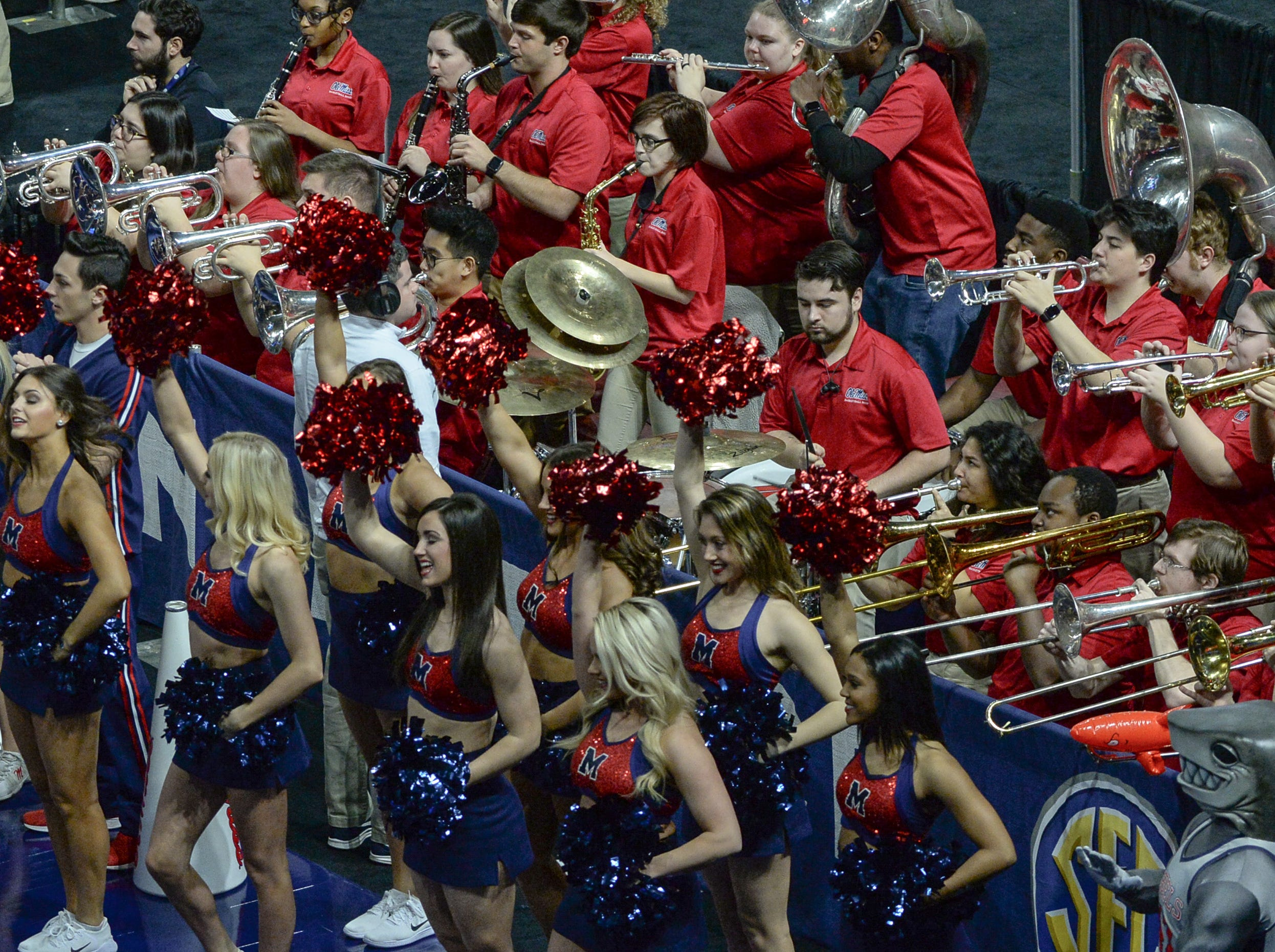Ole Miss band and cheerleaders during the first quarter of the Southeastern Conference Women's Tournament game at Bon Secour Wellness Arena in Greenville Wednesday, March 6, 2019.
