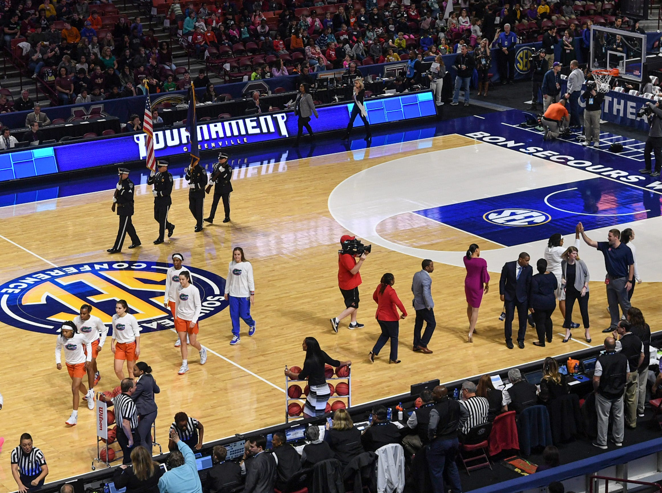 Ole Miss and Florida get ready for tipoff before the first quarter of the Southeastern Conference Women's Tournament game at Bon Secour Wellness Arena in Greenville Wednesday, March 6, 2019.