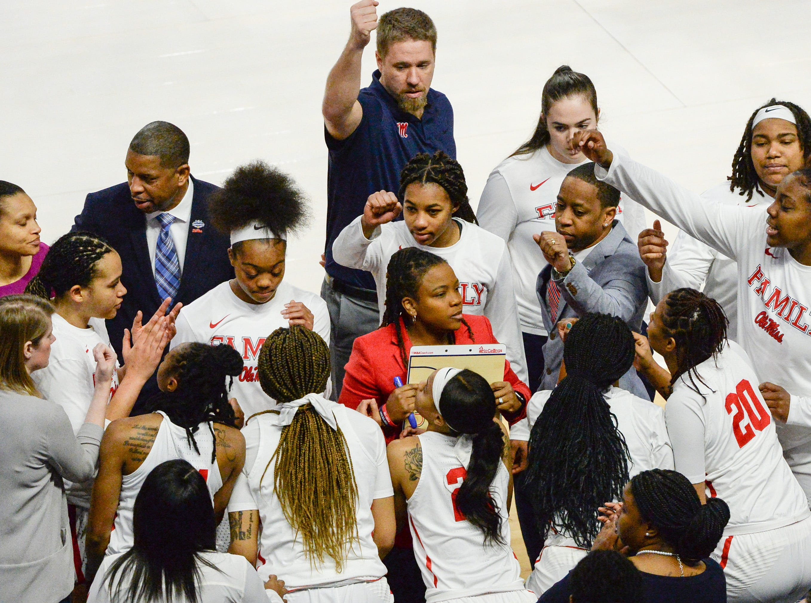 Head Coach Yolett McPhee-McCuin talks with players before the Southeastern Conference Women's Tournament game at Bon Secour Wellness Arena in Greenville Wednesday, March 6, 2019.