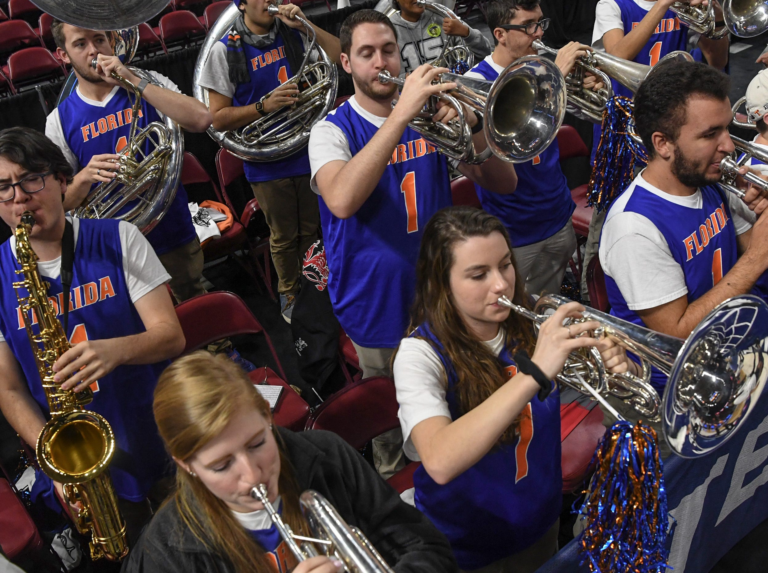 Florida band play after their win over Ole Miss during the Southeastern Conference Women's Tournament game at Bon Secour Wellness Arena in Greenville Wednesday, March 6, 2019.