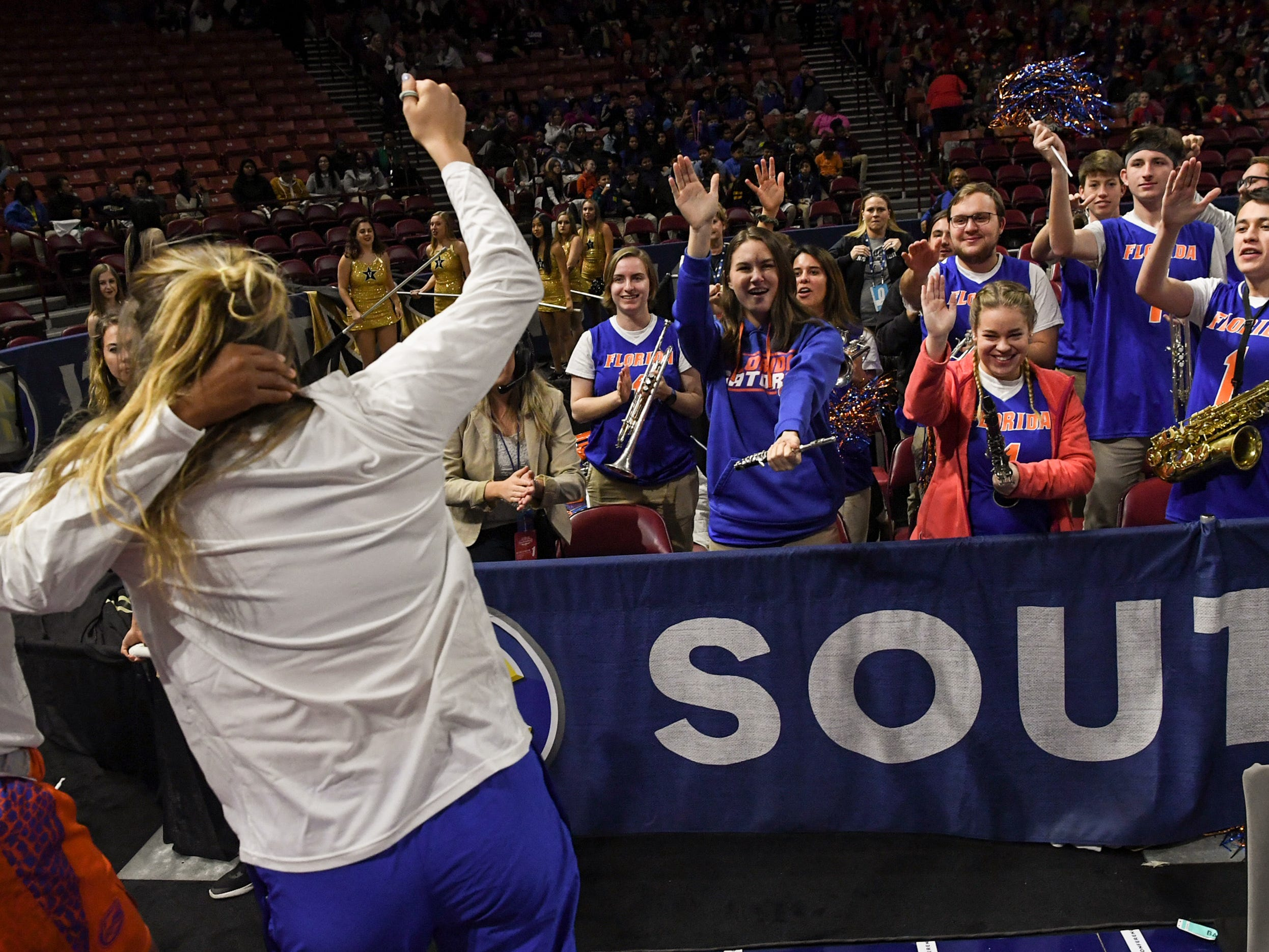 Florida band play celebrate the win over Ole Miss during the Southeastern Conference Women's Tournament game at Bon Secour Wellness Arena in Greenville Wednesday, March 6, 2019.